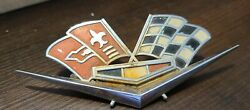 Vintage Early 1960and039s Chevrolet Corvette Front Fender Cross Flags Emblems