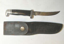 Vintage Buck 118 Fixed Blade 4.5 Personal Hunting Knife W/ Leather Sheath