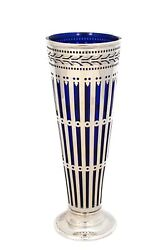 And Co 925 Sterling Silver And Blue Crystal Modern Shiny Sleek Flower Vase