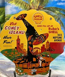 Vintage Porcelain Shell Sponsored Coney Island Gas And Oil Sign