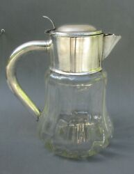 Large Vintage Silver Plate Glass Lidded Water Pitcher Jug 10 Tall 11 1/2 Cups