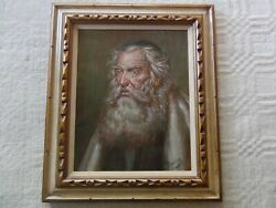 Judaica Oil Painting Canvas Adrian Rovatkay Framed Art Picture Old Man Hungarian