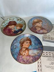 3 Vintage Edna Hibel Mothers Day Knowles Decorative Plates Limited Edition 2 Coa