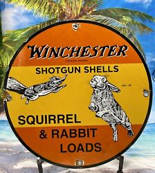 63 Vintage Style And039and039winchester Shotgun Shelland039and039 Porcelain Gas And Oil Sign 12 Inch