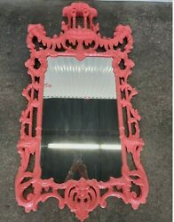 Salmon Colored Chinese Chippendale Italian Wood Mirror