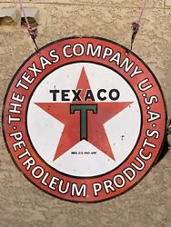 Porcelain Texaco Texas Company Sign 20andrdquodouble Side 2 Sided
