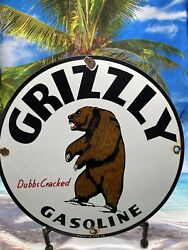 Vintage Grizzly Gasoline Porcelain Sign Lube Gas Pump Station Bear Petroliana 12