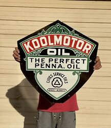 Large Cities Service Koolmotor Motor Oil Station 24 Porcelain Double Sided Sign