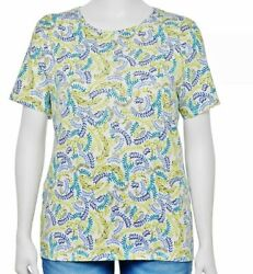 Croft And Barrow Short Sleeve Top - 2x - 100 Cotton - Aqua/lime Floral - New/tags