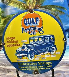 Vintage Porcelain Gulf Oil Gas And Oil Sign