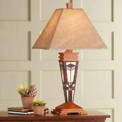 Art Glass Mission -style Night Light W Palace Shade 30 In Tall Table Lamp