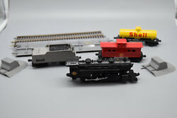 Set Of Shell Oil Engine, 2 Cars And Caboose W/ 3 Pieces Of Track/connector- Preown