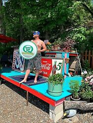 Vintage 24in Metal Quaker State Motor Oil Bubble Button Sign