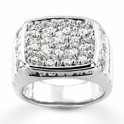 2.68 Ct Real Diamond Solid 14k White Gold Men's Wedding/engagement Band Size 8 9
