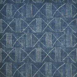 African Inspired Mud Cloth All Linen Upholstery Fabric Blue Indigo