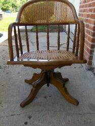 Antique Oak And Cane Bankers Office Desk Chair Swiveling