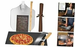 Black Ceramic Pizza Stone Set With Pizza Cutter And Pizza Peel For Oven Baking