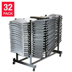 Lifetime Folding Chairs With Cart White Or Almond 32-pack