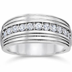 Solid 14k White Gold 0.50 Ct Natural Diamond Menand039s Engagement Band Sizes S T R U