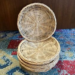 Lot Of 8 Vintage Bamboo Wicker Rattan Paper Plate Holders Camping Picnics