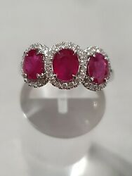 New 18ct White Gold Rubys And Diamonds Ring Size N
