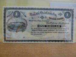 1900and039s 1 Hailey-ola Coal Co Trade Note - Lutie Indian Territory Oklahoma Note