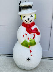 Vintage Dimpled Frosty Snowman Candy Cane Lighted Blow Mold Union Products
