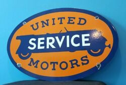 Vintage United Motor Service Porcelain Gasoline And Oil Chevy Auto Service Sign