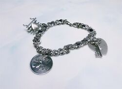 Amazing Love And Hearts Theme Sterling Silver Heart Link Charm Bracelet