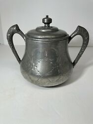 Antique Sugar Bowl E G Webster And Sons Van Bergh Ny - Late 1800s Silverplate