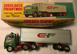 Vintage Consolidated Freightways Friction Tractor And Van Trailer Tin Toy Mint