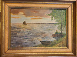 Antique Continental Old River Valley Sailboat Landscape Oil Painting 20 X 14 In.