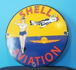 Vintage Shell Aviation Gasoline Porcelain Gas Military Service Airplane Sign