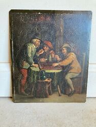 Antique Oil Painting On Tin Manner Of David Teniers Dutch Master