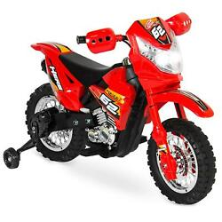 6v Kids Electric Ride-on Motorcycle Toy W/ Training Wheels Lights Music