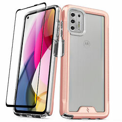 Zizo Ion Series Moto G Stylus 2021 Case - Rose Gold And Clear