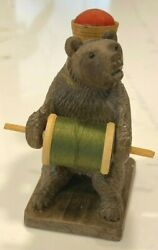Antique Black Forest Carved Wooden Bear Pincushion Thread Spool Holder
