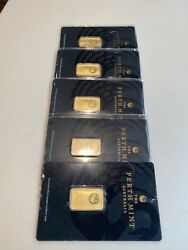 Perth Mint 5 Grams Pure Gold. Lot Of Five