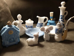Fantastic Lot Of 11 Vintage 1970's Avon Perfume Bottles And Dishes - Save Big