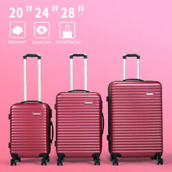 3pcs Hardside Luggage Set 20and039and039 24 28suitcase Spinner Wheel Lightweight Durable