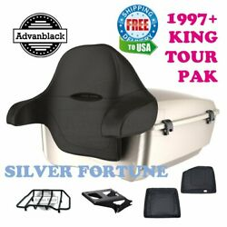 Silver Fortune King Tour Pack Black Hinges And Latch For 97-20 Harley Touring