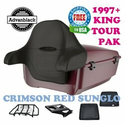Crimson Red Sunglo King Tour Pack Black Hinge And Latch For 97-20 Harley Touring
