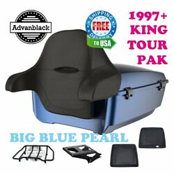 Big Blue Pearl King Tour Pack Black Hinges And Latch For 97-20 Harley Touring