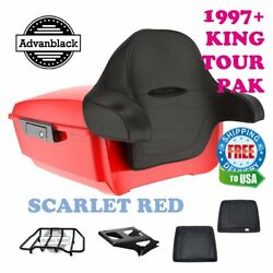 Scarlet Red King Tour Pack Trunk Black Hinges And Latch For 97-20 Harley Touring
