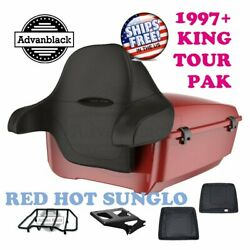 Red Hot Sunglo King Tour Pack Trunk Black Hinge And Latch For 97-20 Harley Touring