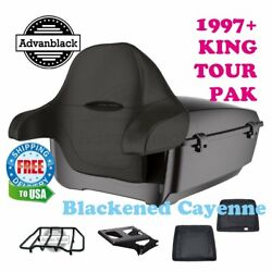 Blackened Cayenne King Tour Pack Black Hinges And Latch For 97-20 Harley Touring