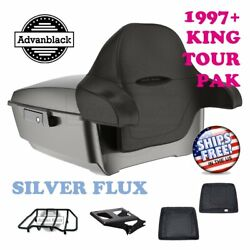 Silver Flux King Tour Pack Trunk Black Hinges And Latch For 97-20 Harley Touring
