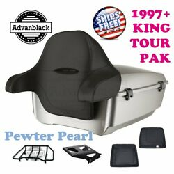 Pewter Pearl King Tour Pack Trunk Black Hinges And Latch For 97-20 Harley Touring