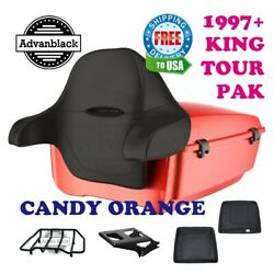 Candy Orange King Tour Pack Trunk Black Hinges And Latch For 97-20 Harley Touring