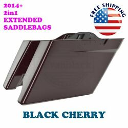 2-1 Black Cherry Stretch Extend Saddlebags For 14-20 Harley Street Road Electra